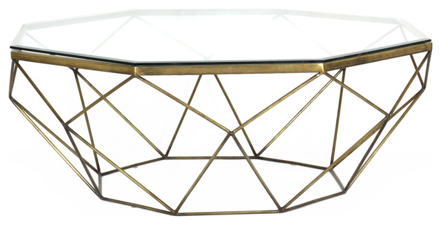 Antique-Style Brass Geometric Coffee Table