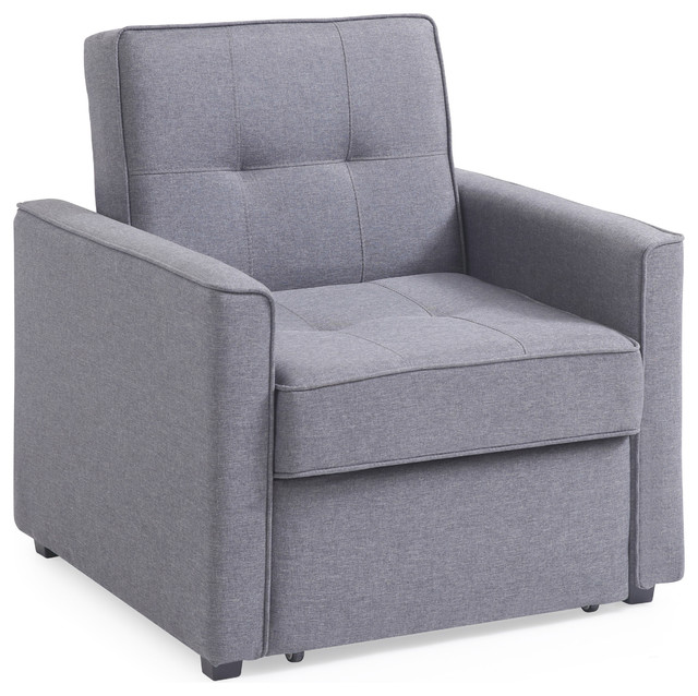 Chandler Gray Convertible Armchair Bed Transitional