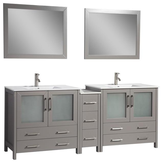 84 Single Sink Vanity Set With Ceramic Top, Gray.