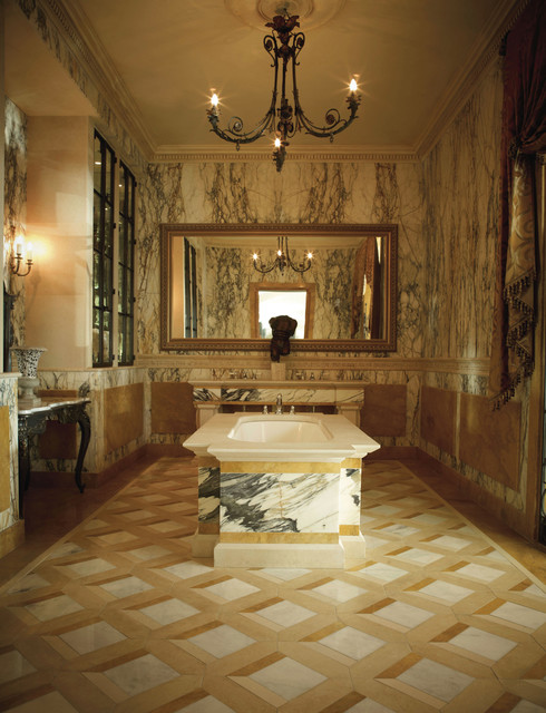 Classical Italian Paonazza Marble Bathroom American Traditional