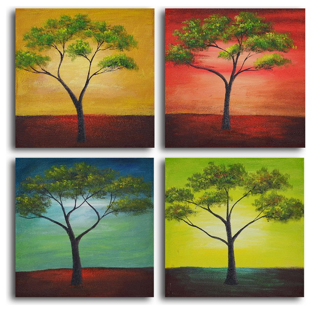 African Trees In Season Hand Painted Canvas Wall Art