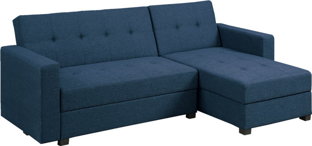 Adjustable Sectional Sofa Bed Chaise Set With Storage, Navy Fabric.