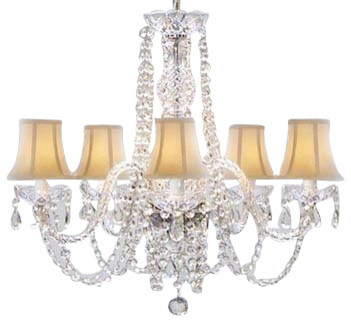 Newauthentic All Crystal Chandelier With White Shades