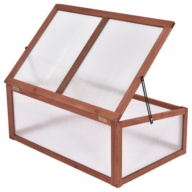 Costway Garden Portable Wooden Green House Cold Frame Raised Plants on raised bed aquaponics, raised bed plans, raised bed greenhouse growing, raised bed kits,