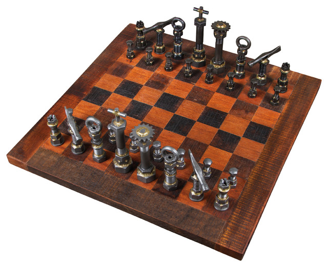 Rustic Chess Set Industrial Board Games And Card