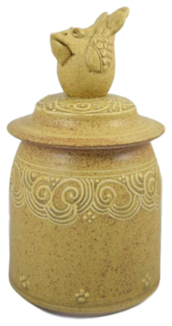 American Stoneware Pottery Country Kitchen Lidded Jar with Chicken