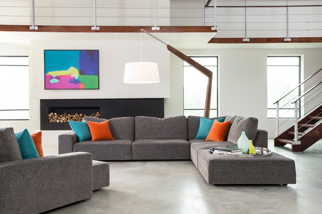Urban modern loft with sectional and swivel chaise from thaye contemporary living room Contemporary urban living room