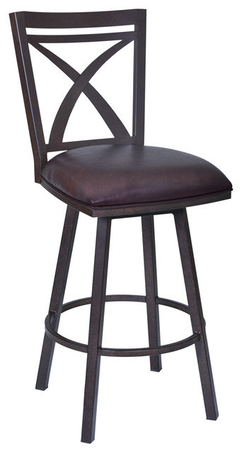 Tremendous Drever 26 Swivel Metal Counter Stool Auburn Bay Finish Brown Faux Leather Theyellowbook Wood Chair Design Ideas Theyellowbookinfo