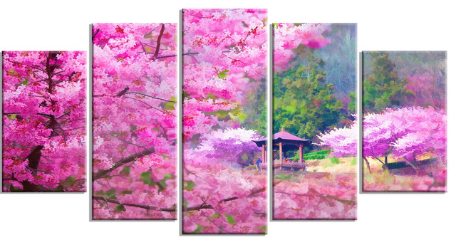 Japanese Cherry Flowers Floral Glossy Metal Wall Art, 5 Panels, 60x32.