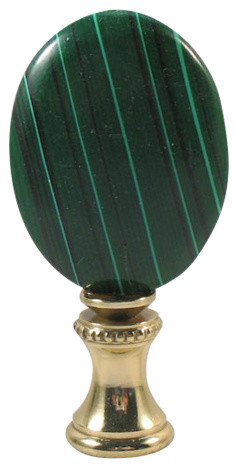 "Lamp Finials, Med Green Oval Disk, 2 1/2 ""overall."