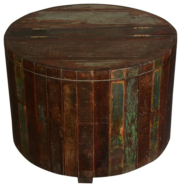 Ordinaire Appalachian Rustic Reclaimed Wood Round Barrel Chest Accent End Table