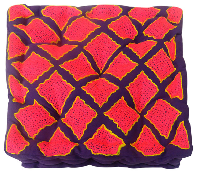 Vintage-Style Rabari Floor Cushion, Purple/Pink/and Yellow