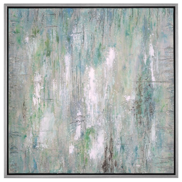 Large Square Green Blue Silver Abstract Painting, Wall Art Light Colorful.