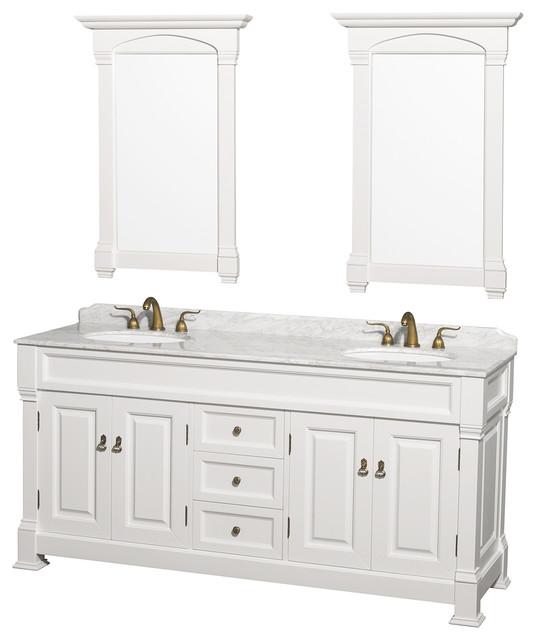 Andover 72 Double Vanity White Carrera Marble Top 28 Mirrors, White.