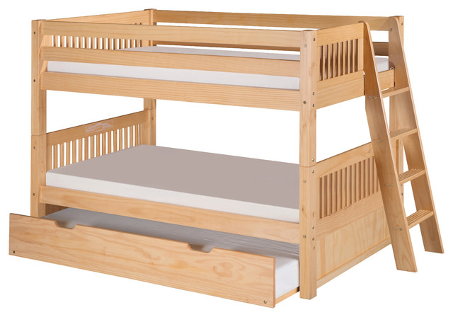Camaflexi Low Bunk Bed Twin Trundle Mission Headboard