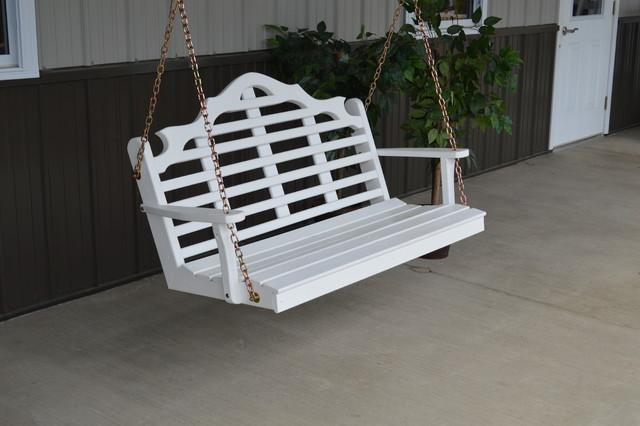 4' Yellow Pine Porch Swing in Marlboro Design, White