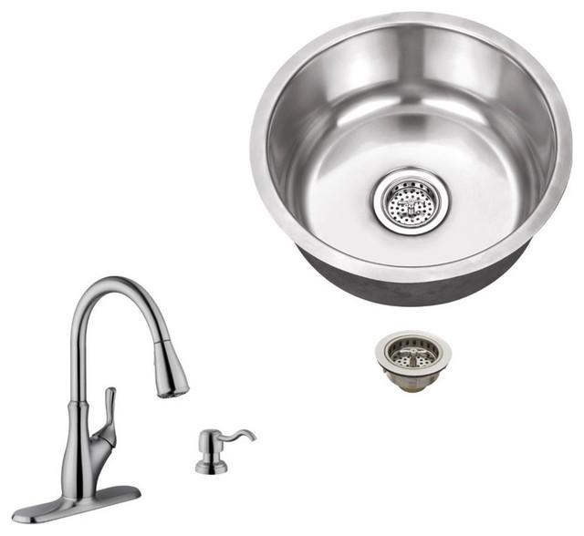 Stainless Steel 18-Gauge Single Bowl Round Bar Sink, Gooseneck Kitchen Faucet.