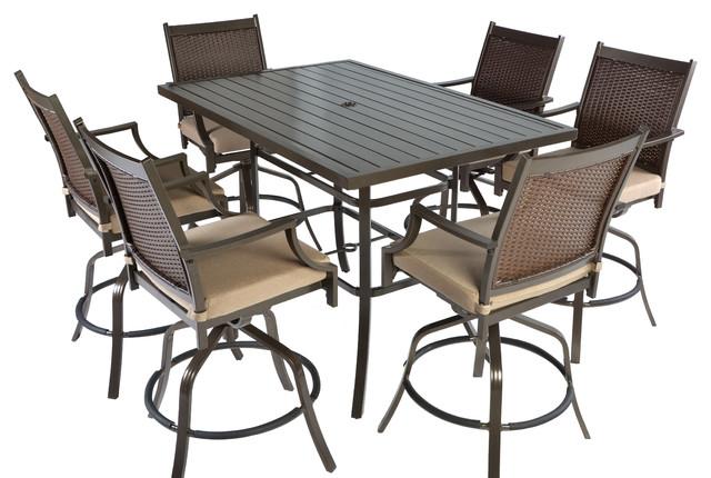 7pc Aluminum and Wicker Swivel Slat Top Patio Bar Height Dining Set- Bronze/Tan