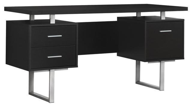 Computer Desk 60 Cappuccino Silver Metal