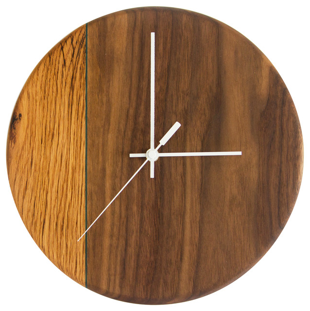 Walnut and Oak Wall Clock With Blue Maple Accent Wall Clocks by
