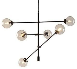 Top midcentury modern chandeliers deals houzz modhaus living mid century modern black bronze chandelier with 6 oversized glass bulbs chandeliers aloadofball Gallery