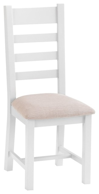 Rustic Slat Back Chair With Fabric Seat, White