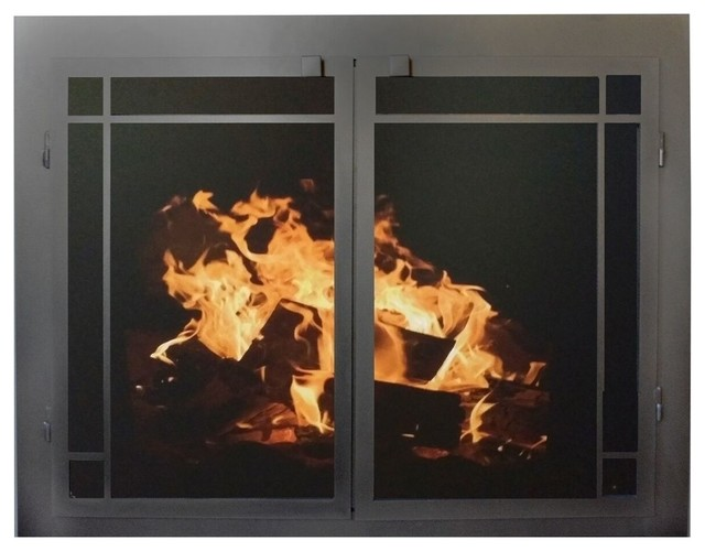 Fireplace Glass Door Gate Mesh 25 Frame In Brushed Gray