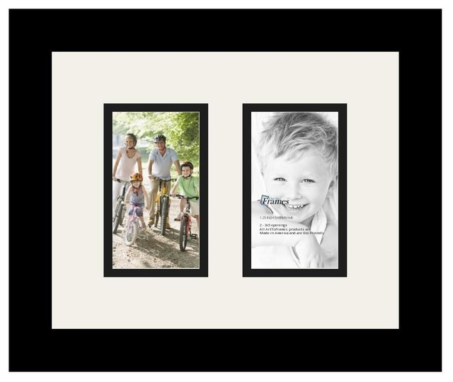 ArtToFrames Collage Photo Frame with 2 Openings and Satin Black ...