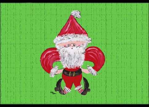 Fleur De Lis Santa Claus Indoor Outdoor Doormat Traditional Doormats By The Store