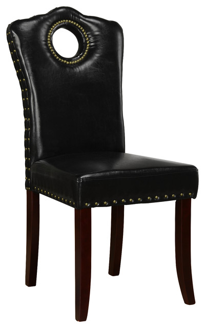 Nail Head Trim Parson Chair, Set Of 2 Chairs, Espresso Transitional Dining