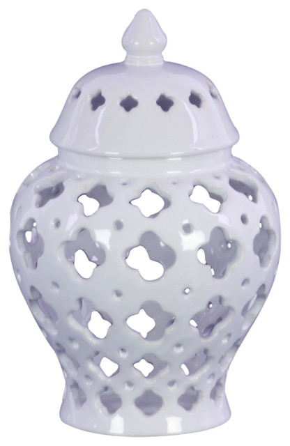 Urn Vase, Cutout Quatrefoil Design Body And Tapered Bottom, White, Small by Urban Trends Collection