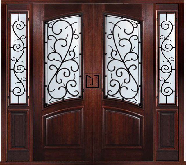 Prehung custom double door with two sidelights bellagio for Traditional front doors