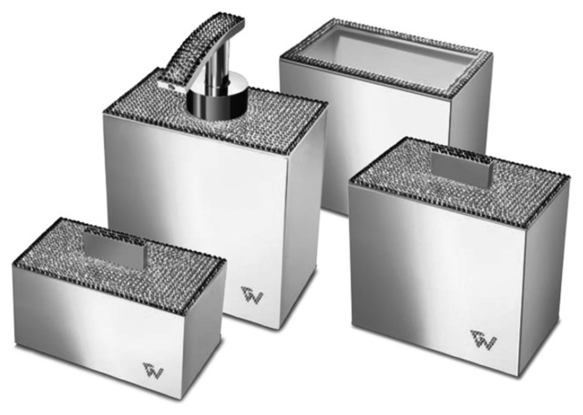 Bathroom Accessories Packaging starlight square bathroom accessories set with swarovski, 4 piece