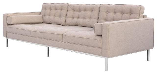 Nowell Linen Traditional Mid Century Button Tufted Square Arm Sofa, Taupe