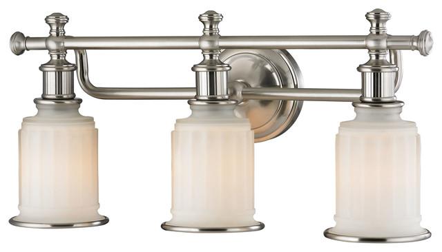 Elk Lighting Acadia Collection 3 Light Bath In Brushed Nickel - 52002/3 - Traditional - Bathroom ...