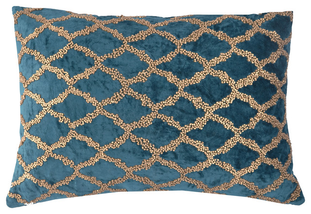 """Velvet Pillow With Beadwork, Teal And Gold, 14""""x20""""."""