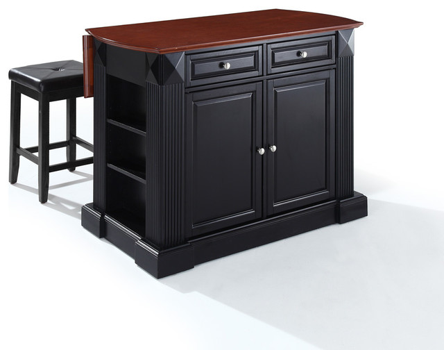 Drop Leaf Breakfast Bar Top Kitchen Island With 24 Stool Black Traditional Kitchen