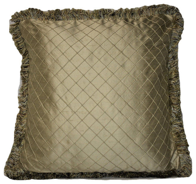 Solid Silk Gold Fringe Decorative Throw Pillow, 18x18