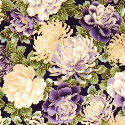 purple Robert Kaufman fabric flowers hyacinths from the USA
