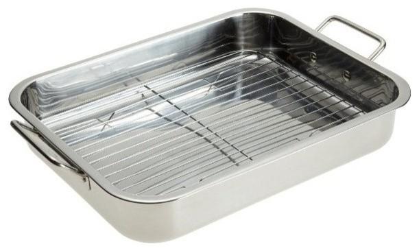 """16"""" Heavy Duty Lasagna Pan, Stainless Steel Roasting Pan With Rack."""