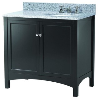 Haven Vanity With Granite Vanity Top With Right Offset Basin Espresso Transitional Bathroom