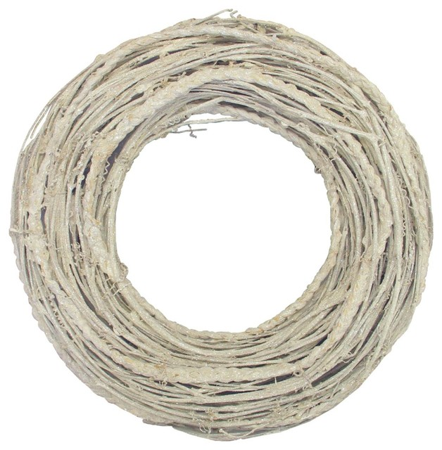 "12.5"" Glittered White Twig Artificial Christmas Wreath."