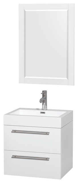"""Amare Glossy White Vanity, 24"""" Mirror, 24"""", Acrylic-Resin, Integrated."""