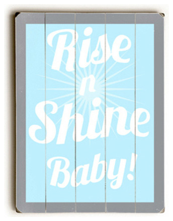 Rise And Shine Blue Wood Sign Farmhouse Novelty Signs By Etriggerz