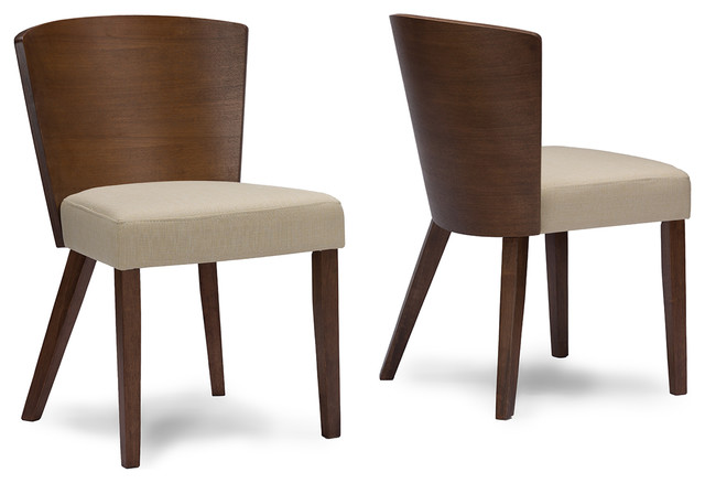 Baxton Studio Sparrow Brown Wood And Khaki Fabric Modern Dining Chair, Set  Of 2 Midcentury
