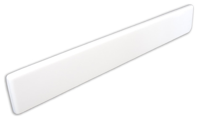 Imperial Side Splash For Bathroom Vanity Top, Solid White Gloss, Left Side.