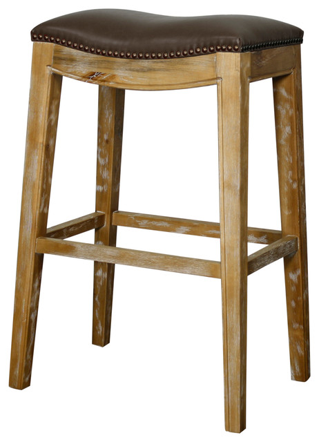 Elmo Bonded Leather Bar Stool With Weathered Smoke Legs