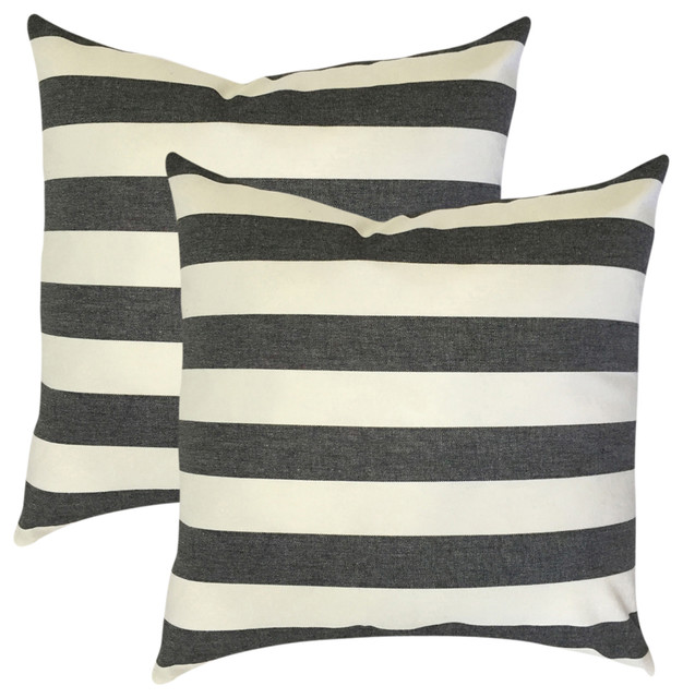 Tailyn Striped Throw Pillows BlackWhite Set Of 40 Contemporary Awesome Black And White Striped Decorative Pillows