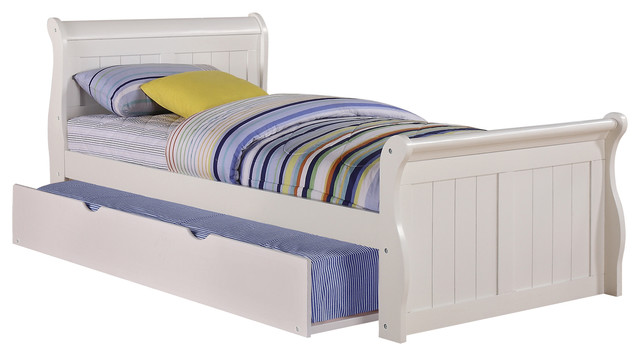 Donco Kids Evanson Twin Sleigh Bed With Rollout Trundle.