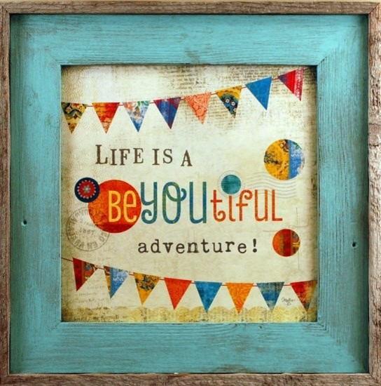 beyoutiful adventure framed art square sky blue reclaimed wood frame 17x17 rustic prints